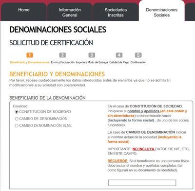certificación negativa de denominación social