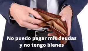 no puedo pagar mis deudas y no tengo bienes