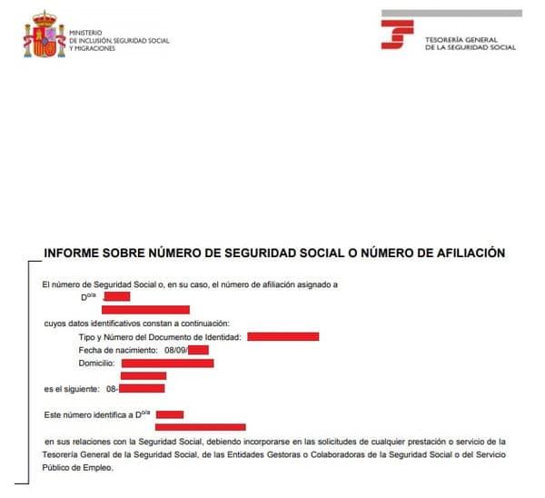informe numero de afiliacion