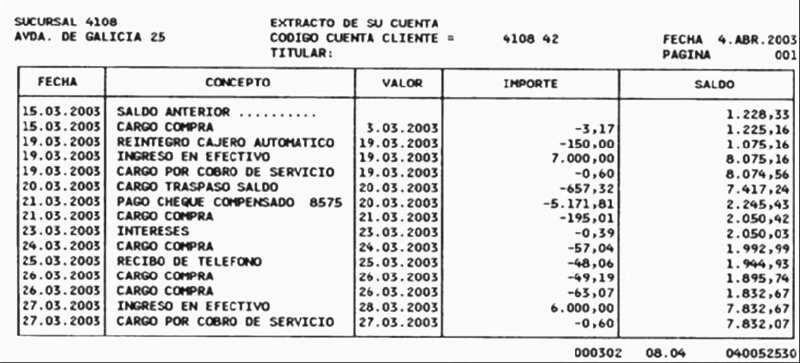 ejemplo extracto bancario